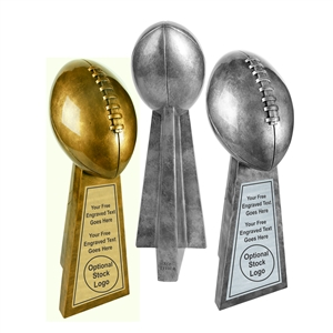 Antique Gold or Silver Football Resin Award