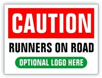 Race Event I.D. & Information Sign | Caution Runners On Road