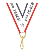 "Red/White/Blue 2nd Place Snap Clip ""V"" Neck Medal Ribbon"