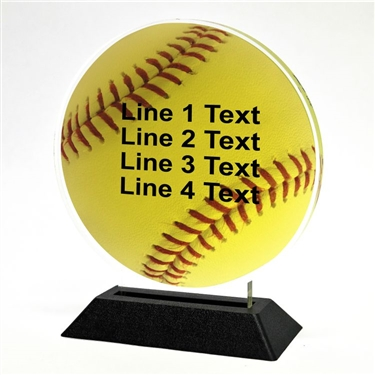 Acrylic Softball Award | Full Color Softball Acrylic