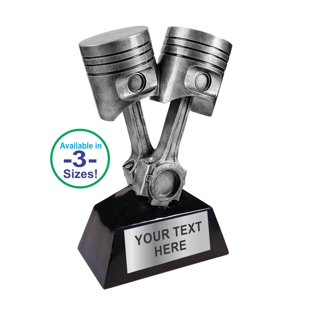 Motorsport Trophies Resin Spark Plug /& Piston Car Award 3 sizes FREE Engraving