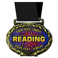 Custom Text Reading Medal in Jam Oval Insert | Reading Award Medal with Custom Text