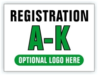 Event Registration Area Sign | Registration A-K