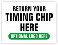 Race Finish Area Sign - Return Your Timing Chip Here