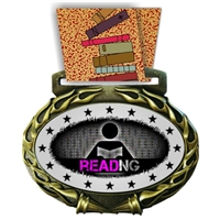 Reading Medal in Jam Oval Insert | Reading Award Medal