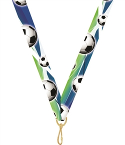 "Soccer Snap Clip ""V"" Neck Medal Ribbon"