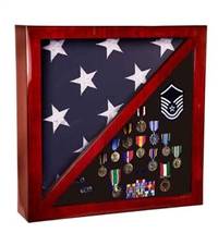Rosewood Piano Finish Flag & Memorabilia Display Case | Flag Display Case