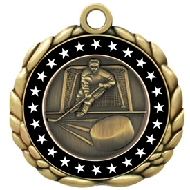 Colored Ring Hockey Medal that features a hockey player skating with a puck.