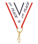 "Red/White/Blue 1st Place Snap Clip ""V"" Neck Medal Ribbon"