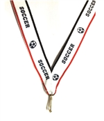 "Red/White/Blue Soccer Snap Clip ""V"" Neck Medal Ribbon"