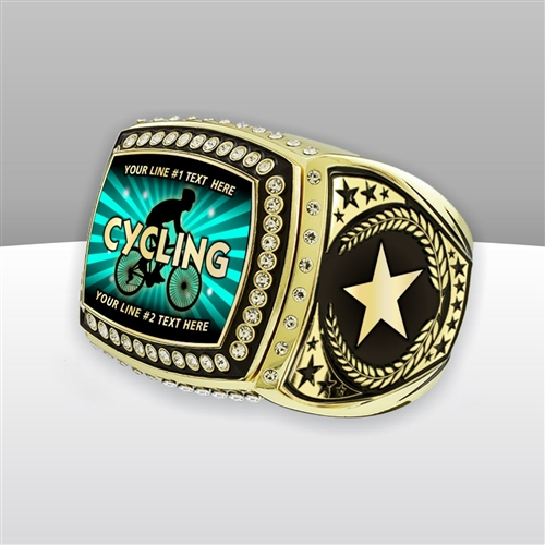 Gigantic Custom Text Champion Cycling Ring