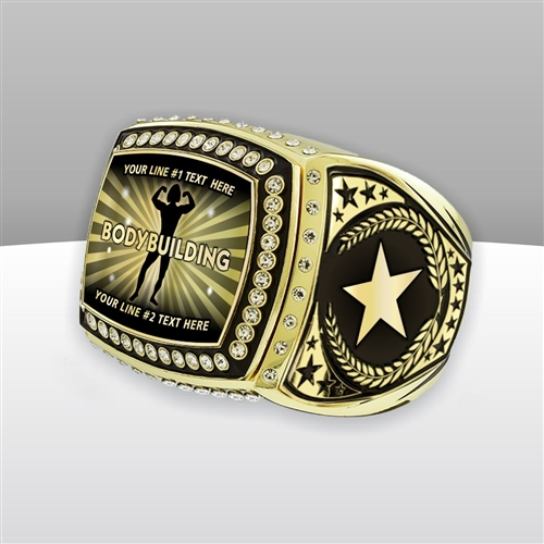 Gigantic Custom Text Champion Female Body Building Ring