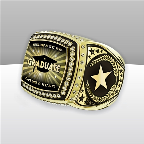 Gigantic Custom Text Champion Graduate Ring