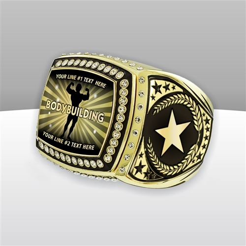 Gigantic Custom Text Champion Male Body Building Ring