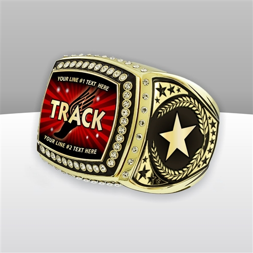 Gigantic Custom Text Champion Track Ring
