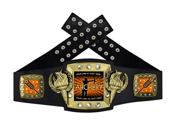 Championship Award Belt for Archery that is black, orange, and gold in color.