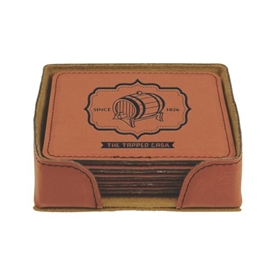 Laserable Leather Coaster Set