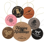 Customizable Leatherette Circle Holiday Ornament