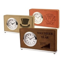 Leather Award Clock | Desk Clock